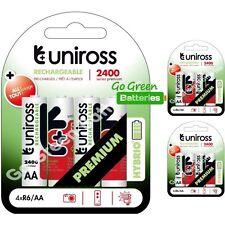 12 x Uniross HYBRIO AA 2400 mAh rechargeables piles, pré chargées NiMH LR6, HR6
