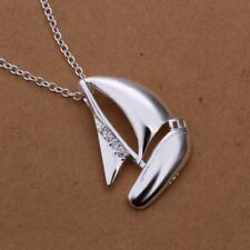 "-UK- Silver Plated Boat Pendant Necklace with Zirconia. 18 "" Chain"