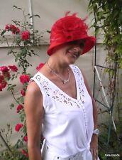 Cappello da donna Romantica a campana rosso elegante Matrimonio Ascot
