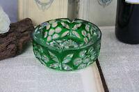 Luxury CRYSTAL ashtray Bohemia bohemian marked czech green coloured rare model