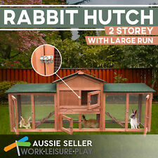 Rabbit Hutch Large Wooden 2-Storey Chicken Coop Dual Use Double Run Wood Cage