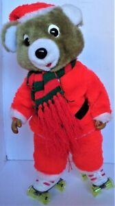 Roller Santa Bear Christmas Animation Figure Box 1985 Battery Operated
