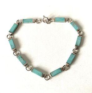 Sterling Silver Turquoise Aqua Blue Colour Stone Oblong Link Bracelet - 7.2inch