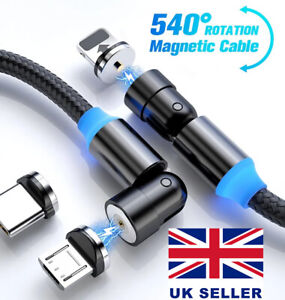 3in1 Magnetic Fast Charger Cable For Android Micro USB Type C iPhone Samsung UK