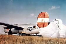 COLOR WW2  Photo WWII B-24 Liberator Bomber Drag Chutes World War Two /5226