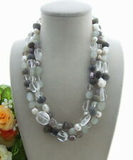 """3rows Cultured White Pearl Labradorite Agate Moonstone Necklace 19"""""""