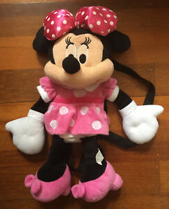 Disney Minnie Mouse 40cm Plush Backpack Pink Dress Doll Stuffed Toy Pink