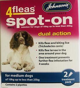 JOHNSONS 4FLEAS MEDIUM DOG 10-25KG SPOT-ON TREATMENT KILL FLEAS & LARVAE