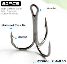 Lots 50pcs Fly Fishing Barbed Treble Hooks Black High Carbon Fishhook 10# - 3/0#