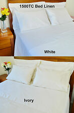 1500TC Egyptian Cotton Sheet Set Fitted Flat Pillow Cases All Sizes White/Ivory