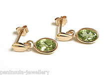 9ct Gold Peridot drop small earrings Gift Boxed Made in UK Birthday Gift