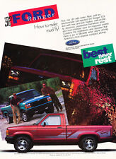 1992 Ford Ranger STX V6 Truck - Original Car Advertisement Print Ad J171