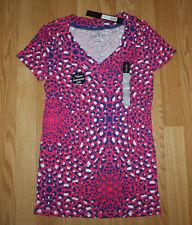 NWT Womens NICOLE MILLER Pink Blue Nugget Print Shirt Sz L Large
