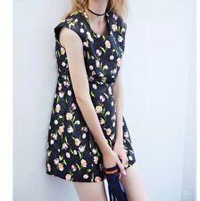 Mini Vestido Negro Estampado Floral, Sin Mangas, Chic Retro Chica, Casual Reino Unido M/S 8 10