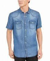 INC Mens Shirt Blue Size Large L Western Denim Washed Button Snap $49 #089
