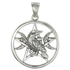 Sterling Silver Raven Pentagram Wiccan Pentacle Pendant Triple Moon Crow Jewelry