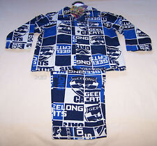 Geelong Cats AFL Boys Blue White Squares Flannel Pyjama Set Size 3 New
