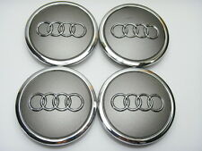 4x AUDI Argento CENTRALE CERCHI IN LEGA TAPPI 68MM Fit: A1 A2 A3 A4 A5 A6 TT RS Q3 Q7