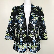 Nine West Womens Blazer Jacket Black Floral 3/4 Sleeve Lined Fitted Stretch Sz 6