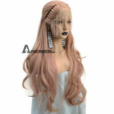 Anogol Braided Lace Front Wig With Baby Hair Synthetic Cabelo Wavy Pink Wigs