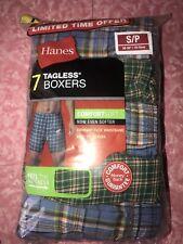 Hanes ~ 7 Pair Men's Tagless Boxers Plaid Underwear Multi-Color ~ S (28-30)