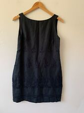 Innovare Vintage Dress Made In Australia Linen Black Shift Size 12 Lined