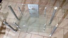 Fernsehtisch Glas, TV Tisch, Glastisch, TV-Rack, mit Rollen