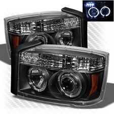 For 05-07 Dodge Dakota Twin Halo LED Projector Headlights Blk Head Lights Lamp