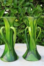 Pair Belgium Art Deco  Pottery Three Twisted Handles Vases