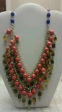 Anthropologie orange blue gold layer link necklace