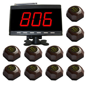 SINGCALL Wireless Restaurant Table Call System for Customer 1 Display,10 Bells