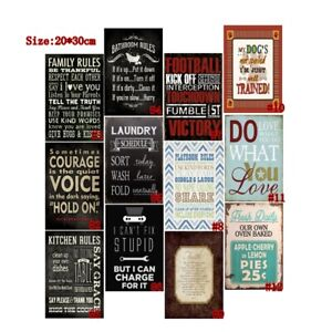 Retro Metal Tin Signs Family Rules Poster Plate Art Wall Decor 7.8*11.8""