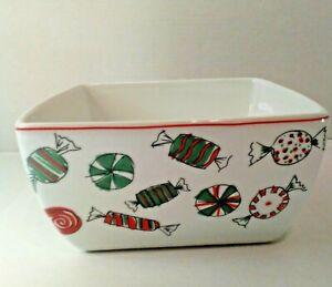 Food Network Porcelain Holiday Treats Deep Dish Square Microwave Safe Bowl
