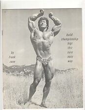FRANK ZANE bodybuilding Build Championship Legs This Sure Easy Way booklet