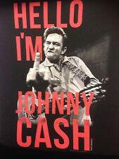 JOHNNY CASH HELLO I'M JOHNNY CASH T-SHIRT USA IMPORT BLACK COTTON FRONT PRINT