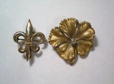 Two Vintage Gold Filled Brooch Pins Fleur di Lis & Pansy Flower