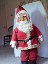 """Antique 1920 German Buckram Face Santa with Mohair Detail and 23"""" Tall"""