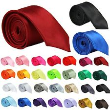New Mens Classic Skinny Slim Plain Tie Necktie solid color 100% Polyester #A