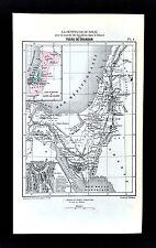 1877 Vuillemin Map - Old Testament Canaan - Jerusalem Mt. Sinai Kingdom of David