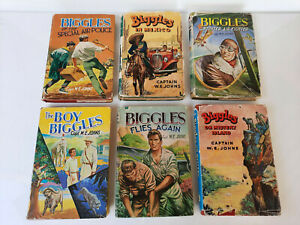 Bulk Lot, 6x Hardcover Biggles Books, Vintage, Varying Condition