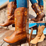 Women Embroidery Sunflowers Low Block Heel Chelsea Mid Calf Boots Cowboy Shoes