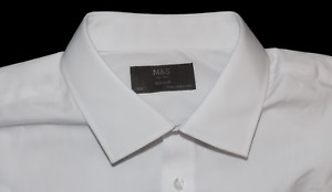 M&S Collection BNWOT Regular Fit Cotton Blend White Shirt Cost 16.5/42