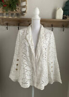 Anthropologie Ett Twa White Crochet Eyelet Cardigan Jacket Size Medium Light