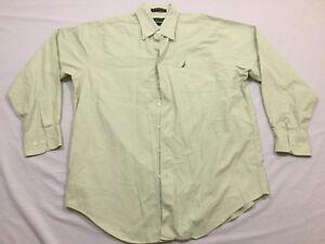 M126 NAUTICA Vintage Oxford Green Long Sleeve Dress Shirt MEN'S 16 1/2 34-35
