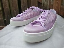 Womens Schuh satin Lace Up platform lilac Trainers Sneakers Sport Shoes Size 6