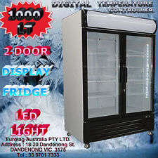 EUROTAG 2 DOOR 1000L White COMMERCIAL UPRIGHT DISPLAY FRIDGE 1YEAR WARRANTY