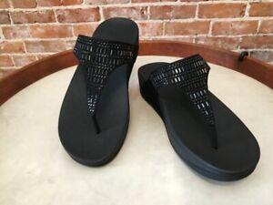 FitFlop Black Incastone Crystal Jeweled Thong Comfort Sandal 9 41 Sale