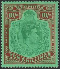 Bermuda 1938 KGVI 10sh Green + Deep Lake on Pale Emerald p14 Mint SG119 cat £400