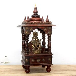 Antique Reproduction Handmade Wooden Home Temple / Puja Mandir with Brass Statue