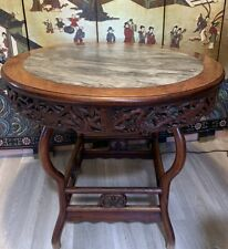 Antique Chinese Carved Circular Table with Top Insert Birds snd Flower Motif